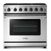 Thor Kitchen Lrg3601 36w 6 Cu. Ft. Built-in Natural Gas Range - Stainless Steel
