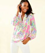Lilly Pulitzer Elsa Silk Top Multi Squeeze The Day Sale