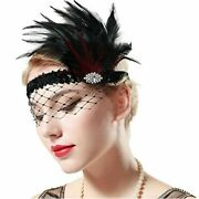 Babeyond 1920s Flapper Headband Roaring 20s Feather, Black, Size No Size