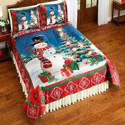 3 Pc Lighted Christmas Tree Snowman Comforter Set W/shams Queen/full/twin/king