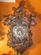 Excellent Large Antique Cuckoo Clock Circa 1890-1910 With Live Animal Carving