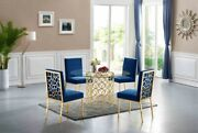6pc Navy Color Velvet Side Chairs Luxurious Dining Room Furniture Gold Finish