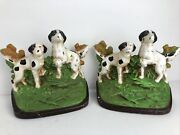 Vintage Hubley Pointer Setter Hunting Dog Cast Iron Painted Bookends 171