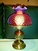 Fenton Cranberry Hobnail Opalescent Student Lamp Shade Only, No Lamp