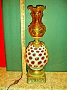 Fenton Rare Oil Style Lamp Honeysuckle Coin Dot Opalescent With Etched Chimney