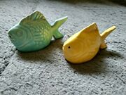 Vintage Ceramic Chicken Of The Sea Tuna Fish Salt And Pepper Shakers Set