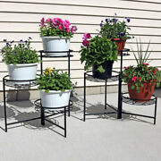 Sunnydaze Black Three Tiered Indoor Outdoor Flower Plant Stand 22 - Set Of Two