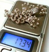 Jawdropping Antique Estate 1920's Art Deco Platinum And 95 Diamonds 2.5 Brooch
