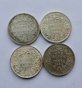1877 1893 1900 And 1901 India Silver One Rupee Coins Queen Victoria