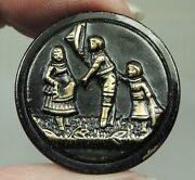 Antique Tinted Brass Picture Button How Do Y'do Ma'am 1 1/16 Boy Tipping Hat