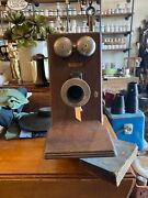 Antique Wall Phone Western Electric Wood Hand Crank -