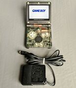 Nintendo Gameboy Advance Sp Clear Black Console W/ips V2 Screen Mod And Charger
