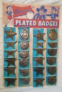 1950s Toy Tin Spc Police And Deputy Sheriff Badge On Store Display - 24 On Card