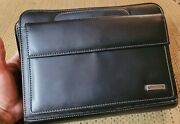 Franklin Covey Black Leather Binder Zip Around Planner 7 Ring Binder Classic