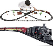 Electric Classical Train Sets With Steam Locomotive Engine Cargo Car And Tracks