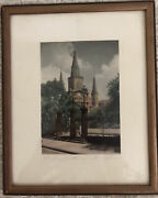 New Orleans Antique Framed Color Print St. Louis Cathedral S. Bennett Moore