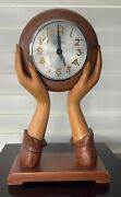 Vintage Sessions 8 Days Wooden Womanand039s Hands Mantle Clockandhellipworking