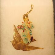 Antique German Christmas Ornament Dresden Pressed Cardboard Angel And Bird 3x3 In