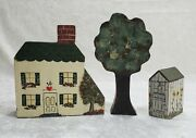 Miniature Hand Painted Solid Block Wooden House Tree Shed Signed M. Weber 1988
