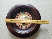Wooden Wood Casino 10 Roulette Wheel Spinner Gambling Used Plastic Mid W Marble