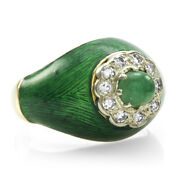0.60ct Emerald Cabochon And 0.20ctw Diamond Ring In 18k Yellow Gold