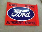 Porcelain Ford Enamel Sign Size 24 X 17.5 Inches 2 Sided Flange Pre-owned
