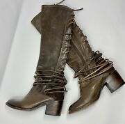Freebird Steven Coal Distressed Leather Over The Knee Full Lace Up Boots - Sz 7