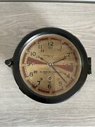 Vintage 1940and039s Chelsea Radio Room Shipand039s Clock Works Great Wwii Era