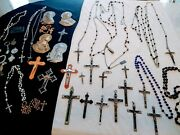 Antique Vintage Catholic Crucifix's Rosary's And More Sterling Lot 30+pcs.