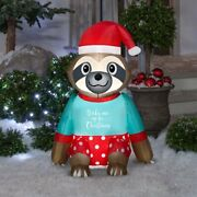 3 Ft Christmas Sloth In Pajamas Airblown Lighted Yard Inflatable
