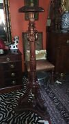 Large Antique Victorian Ornate Wood Carved Mahogany Display Plant Stand Pedestal