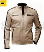 Menand039s Top Quality Soft Sheep Beige Leather Zipper Biker Jacket With Brown Strips