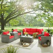 8pcs Pe Wicker Rattan Sectional Sofa All Weather Conversation Set W Coffee Table