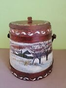 Hand Painted Firkin Wooden Bucket Signed Ez Winter Scene With Lid 9 Tall