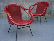 Mid Century Modern Arthur Umanoff Eames Style Red Rattan And Wrought Iron Chairs