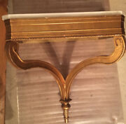 Antique Gold Gilt Italian Demilune Console Hanging Wall Mounted Marble Top Table