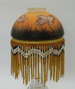 Frosted Glass Hand Painted Lamp Shade With Beaded Fringe Butterflies Unique