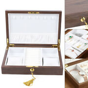 Portable Wooden Jewelry Display Cases Watch Ring Necklace Storage Box 28x19x6cm