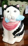 Vintage Cat With Fish Cookie Jar - Black And White Cat With Blue Fish