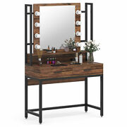 Elegant Makeup Table Vanity Set Dressing Table With Lighted Mirror And 2 Drawers