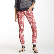 """Miss Me Tie Dye Jeans Red White Cotton Lycra Skinny 32"""" Inseam Womans Size 27"""