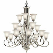 Kichler 43192led Nickel Monroe 16-light 45w Led Chandelier With Etched Shades