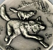 Longines Gray Wolf 1.02 Oz .925 Silver Antiqued Ultra Hi Relief Art Round