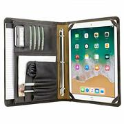 Vintage Crazy Horse Leather Portfolio With 3-ring Binder For 12.9 Inch Ipad P...