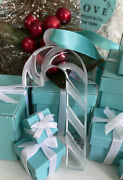 Tiffanyandco Crystal Candy Cane Ornament Frosted Christmas Holiday Decor Pouch Box