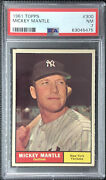 1961 Topps 300 Mickey Mantle Psa 7 Nm Ny Yankees Well Centered Freshly Graded