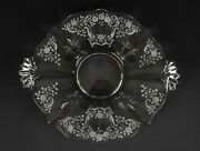 Fostoria Meadow Rose Handled Cake Plate Vintage Elegant Etched Glass Tray 12