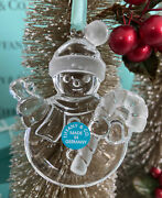 Tiffanyandco Crystal Snowman Ornament Candy Cane Christmas Holiday Pouch Box