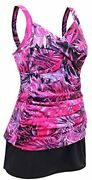 Jinxueer Women's Plus Size Swimwear Floral Tankini Set Ruched Modest Two Piece