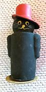 German Halloween Figural Black Cat W/ Top Hat Candy Container. New Old Stock